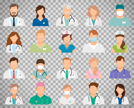 Professional doctor avatars isolated on transparent background. Medicine professionals and medical staff people icons vector illustration Çizim