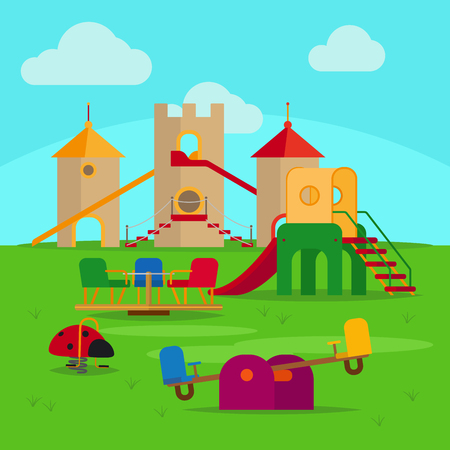 Colorful playground with slides and swings vector illustration