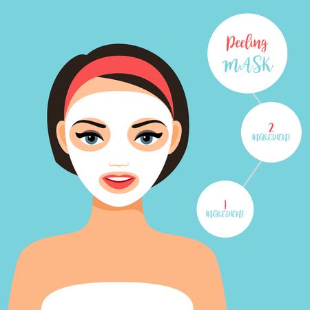 melanin: Peeling mask for treating skin. Girl face with mask, vector illustration