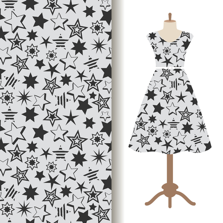 Womens dress fabric pattern design with abstract stars. Vector illustration