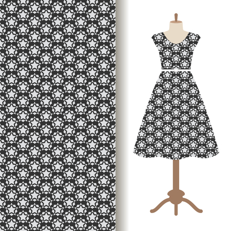 Womens dress fabric pattern design with repeat starry backdrop. Vector illustration