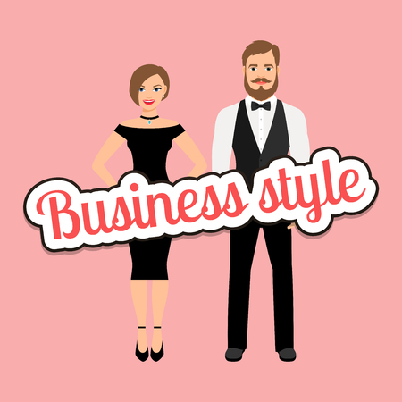 Beautiful couple in business style clothing vector concept