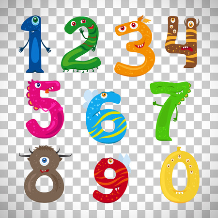 Monster numbers, vector funny children numbers isolated on transparent background