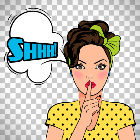 Vector pop art woman asking for silence isolated on transparent background