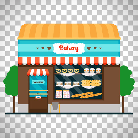 Bakery shop front veiw flat icon. Bakery facade vector illustration isolated on transparent background