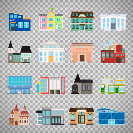 warehouse building: City buildings flat icons isolated on transparent background. Daycare and hotel, courthouse and airport, bus station and the business center. Vector illustration Illustration