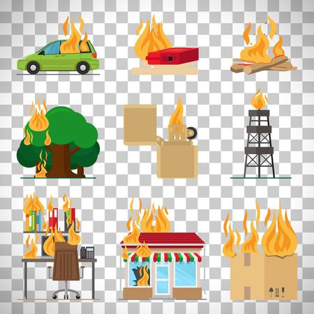 encendedores: Iconos de riesgo de incendio. Incendio en el hogar y la construcción, se olvidó de las señales del vector de fuego para el seguro y la infografía de seguridad contra incendios aislado en el fondo transparente Vectores