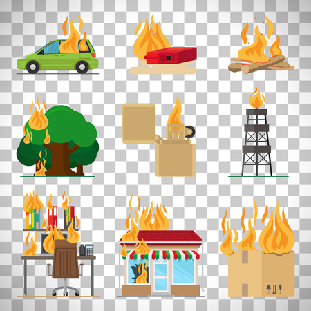 Fire risk icons. Fire in home and building, forgot fire vector signs for insurance and fire safety infographic isolated on transparent background Illustration