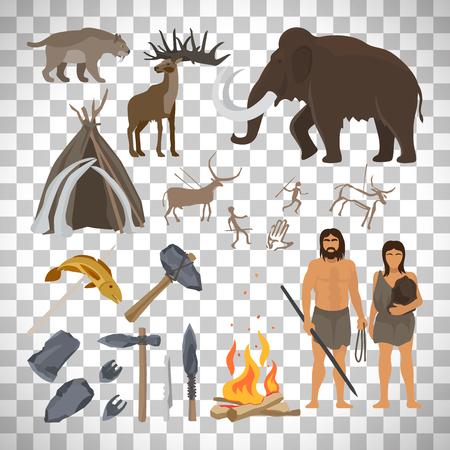 Steinzeitvektor lokalisiert auf transparentem Hintergrund. Höhlenmensch oder Troglodyte, Mammut und Lagerfeuer, prähistorische gealterte primitive Werkzeuge Standard-Bild - 82757181