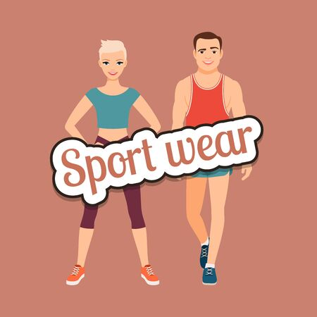 Fitness fashion couple in sport wear style clothing vector concept Stock Photo