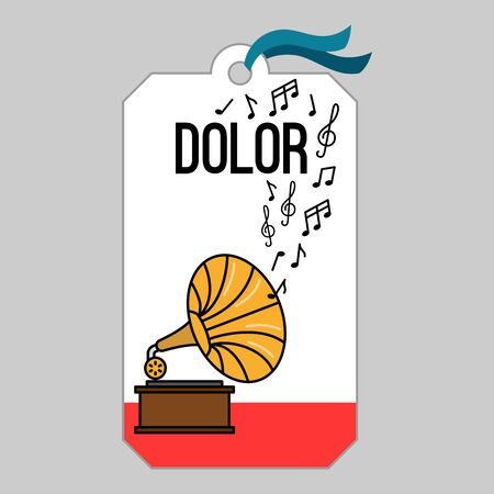 Music tag or musical label or banner with gramophone vector illustration
