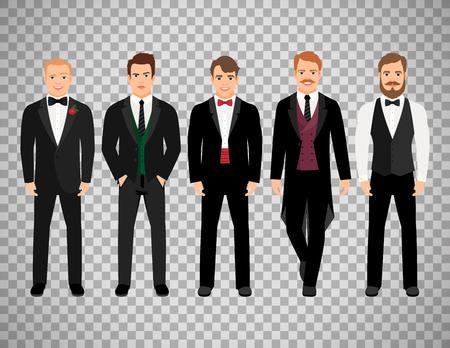 ファッション漫画のエレガントなビジネス キャラクターが透明な背景に分離されました。ベクトル図