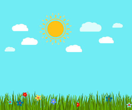 Spring green grass and flowers landscape, vector illustration
