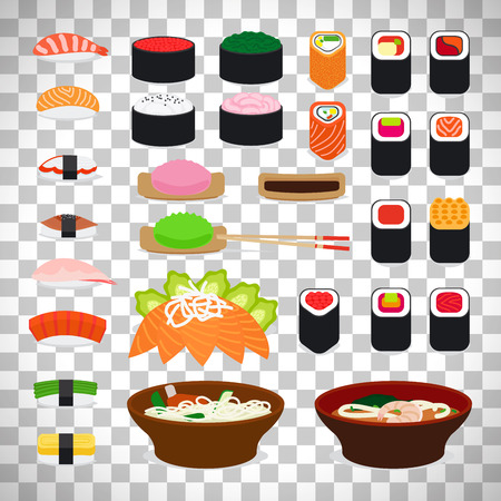 Sushi and sashimi, noodle and miso icons isolated on transparent background. Vector illustration Illustration