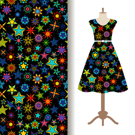 galactic: Womens dress fabric pattern design with kaleidoscope stars. Vector illustration