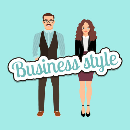 Fashion couple in business style clothing vector concept