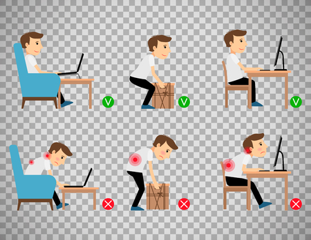 Man sitting, working and lifting heavy things correct and incorrect postures. Vector illustration isolated on transparent background