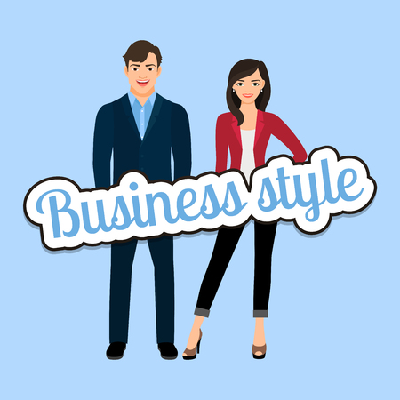 Happy couple in business style clothing vector concept Illustration