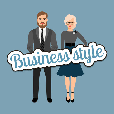 drawing pin: Retro style dressed fashion couple in business style clothing vector concept