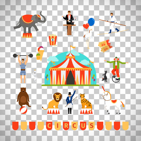 Circus and fun fair elements in modern flat style isolated on transparent background. Vector illustration
