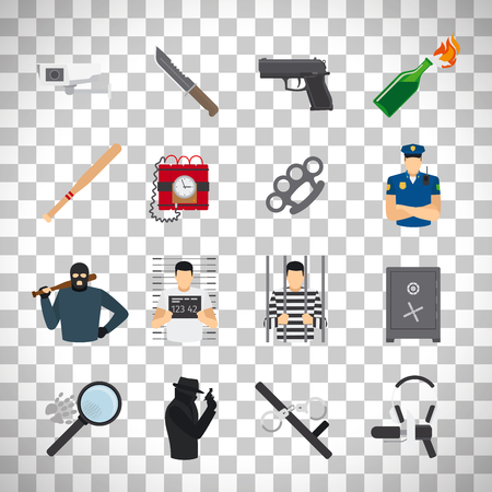 outrage: Crime flat icons set isolated on transparent background. vector illustration