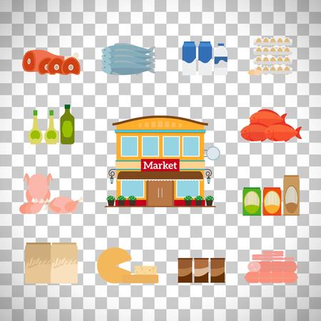 mayonnaise: Grocery icons set isolated on transparent background, vector illustration Illustration