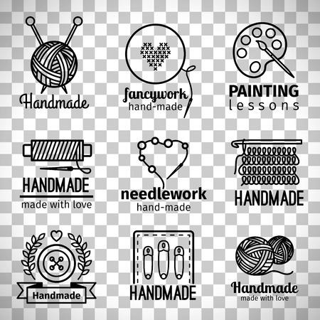 Handgemachte Linie Ikonen, dünne Linie Logosatz der handgemachten Werkstatt lokalisiert auf transparentem Hintergrund
