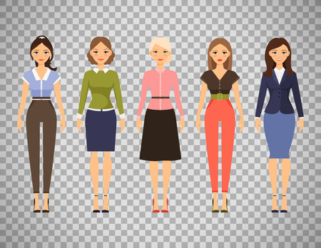 Woman dresscode vector illustration. Beautiful women in different outfits icons isolated on transparent background