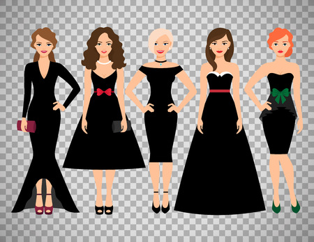 Young women in different black dresses vector illustration. Black fashion female model portrait isolated on transparent background
