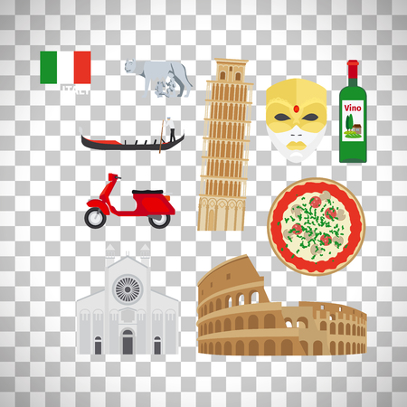 Italy flat icons set isolated on transparent background, vector ilustration
