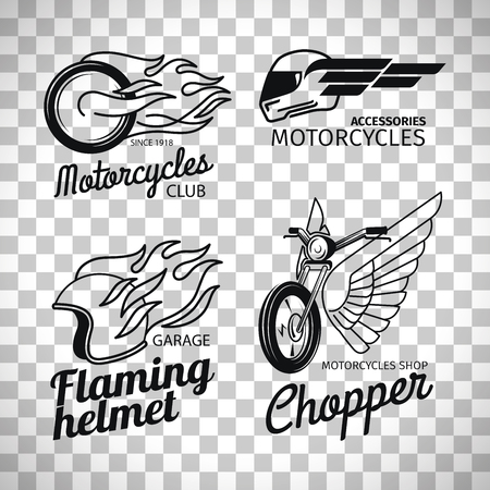 Motorcycle race logo or motorbike label set isolated on transparent background, vector illustration Ilustração