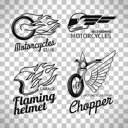 Motorcycle race logo or motorbike label set isolated on transparent background, vector illustration Illustration