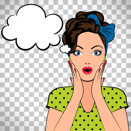 Pop art woman with the speech bubble isolated on transparent background. Vector illustration 向量圖像