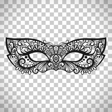 Beautiful lace mask, Mardi Gras vector mask isolated on transparent background
