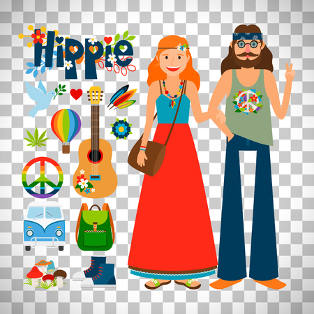 meditation man: Hippie woman with long hair and man with guitar isolated on transparent background, vector illustration
