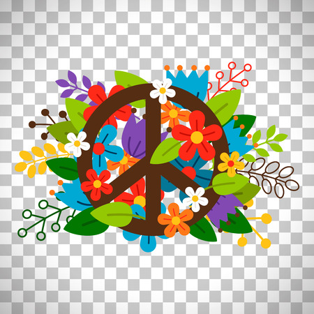 Peace symbol with flowers vector isolated on transparent background Çizim