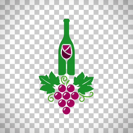 winemaking: Wine logo with grape isolated on transparent background, vector illustration