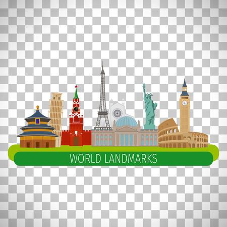 toulouse: Colorful world landmarks isolated on transparent background, vector illustration Illustration