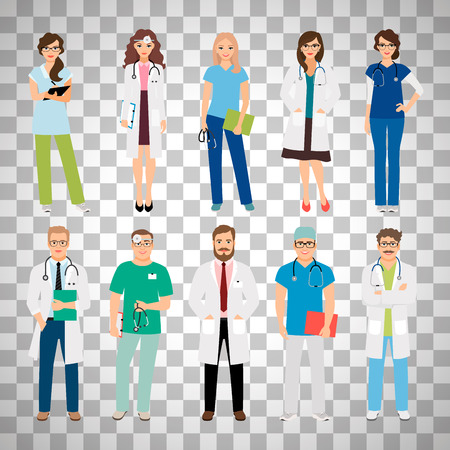 Healthcare medical team workers isolated on transparent background. Smiling doctors and nurses in uniform for health care projects. Vector illustration Illustration