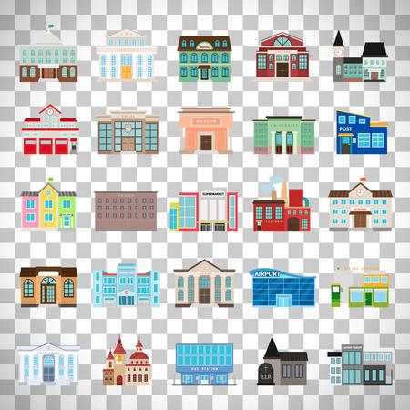Städtische Bibliothek und Stadt Bank, Krankenhaus und Schule Vektor-Icon-Set. Farbige städtische Regierungsgebäude Symbole auf transparenten Hintergrund isoliert Standard-Bild - 83259723