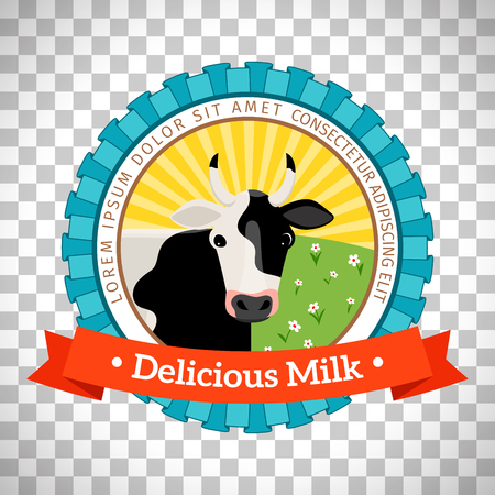 Fresh and natural milk logo with milk cow vector isolated on transparent background