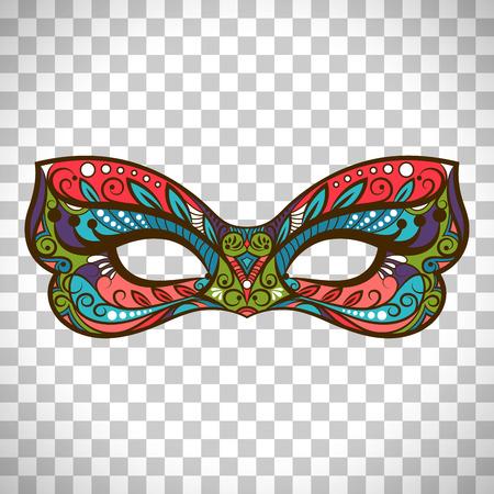 Vectormasker gekleurd masker in vlinderkleuren die op transparante achtergrond worden geïsoleerd