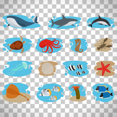 Sea animals flat icons set isolated on transparent background, vector illustration