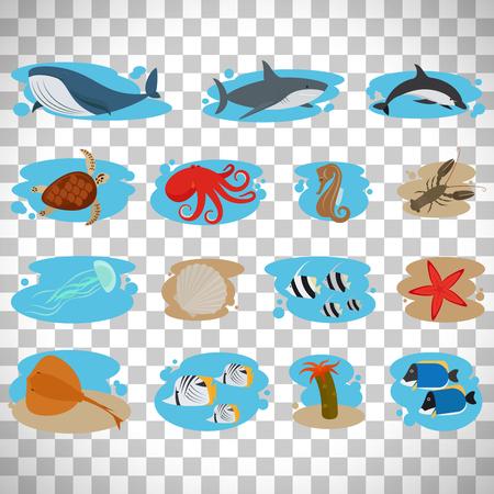 horse fish: Sea animals flat icons set isolated on transparent background, vector illustration