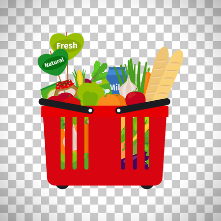 chinese spinach: Supermarket shopping basket with natural fresh food isolated on transparent background. Vector illustration