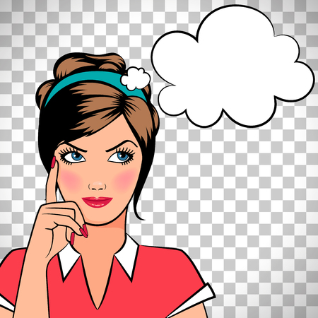 Thinking woman in pop art comic style isolated on transparent background. Vector illustration
