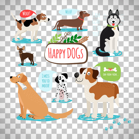 beagle terrier: Vector cartoon dog with speech bubbles isolated on transparent background