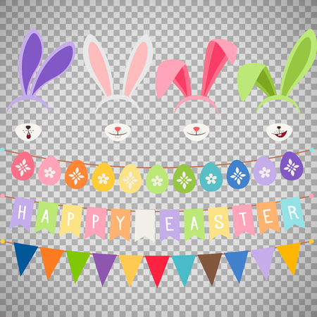 Easter party decoration vector elements. Eggs garland and bunny ears isolated on transparent background
