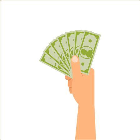 Hand holding money isolated on white background, vector illustration