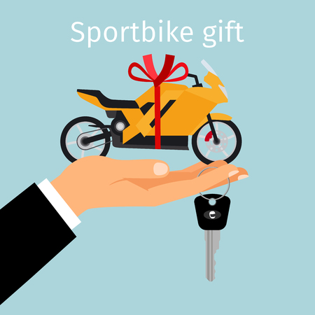 Man holding in hand on palm sportbike with red ribbon. Sportbike gift concept, vector illustration